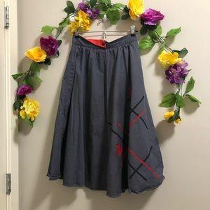 Vintage Sixth Sense (C&A) Skirt w/ Red Detail